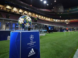 Football on stand before a Champions League tie