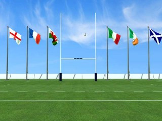 Six Nations' flags & rugby goal post
